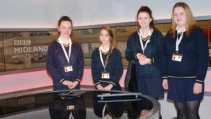 St Paul's School pupils go behind the scenes at BBC Midlands Today.