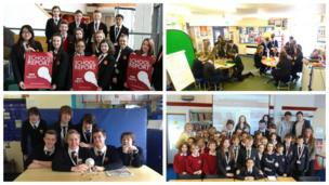 School Reporters from All Saints Academy, Ferndown Middle School, Aberdare High School and Devizes School on News Day 2014.