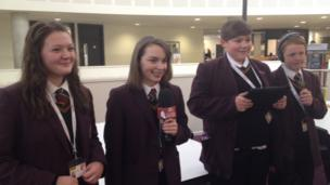 Students at Abraham Darby Academy in Telford starting the day with a live broadcast on BBC Radio Shropshire.