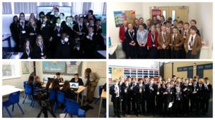 Students at Prospect School (top left), Blundell's School (top right), St Michael's Catholic Secondary School (bottom left), and The Lancaster School (bottom right) hard at work on News Day 2014.