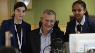 School reporters with radio host, Jeremy Vine.