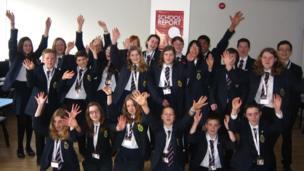 The Mountbatten School Report team on News Day.