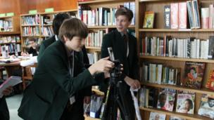 Andrew and James from St Benedict's School begin their filming about teen truancy at St Benedict's