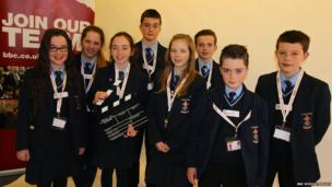 St.Patrick's Academy students celebrate a successful News Day in Dungannon.
