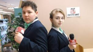 Students at Regents Park Community College recording and editing their news stories today.