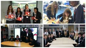 The School Reporters from Heathfield School, Bullers Wood School, The Duston School and Redruth School: a Technology College on News Day 2014.