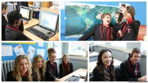 Higham Lane School students before their computers