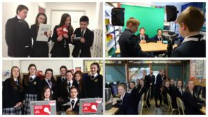 Pupils at St Ambrose Barlow RC High School, Broughton Business and Enterprise College, Our Lady's Grammar School and Abbot's Hill School working hard to meet the deadline on News Day.