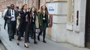 Fiona Bruce and School Reporters arrive at Department for Education