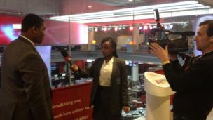 School Reporters from St Michael's Catholic College doing an interview at the BBC.