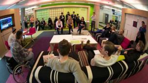 Essa Academy with Newsround presenter Martin Dougan at production meeting.