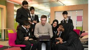 Essa Academy pupils with Andy Hassell, who gave them a website master class.