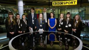 School Reporters with Sports presenters John Watson and Nina Warhurst.