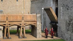 Yeomen Warders examine the first working drawbridge at the Tower of London since the 1970s