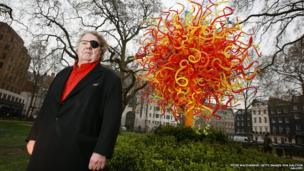 American artist Dale Chihuly unveils his Sun installation in Berkeley Square in London, England