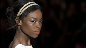 Angola's model Maria Borges in Sao Paulo, Brazil, on 1 April 2014