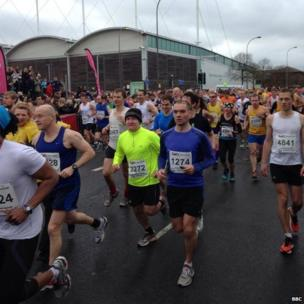 Runners at Sheffield Half Marathon start line.