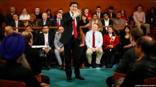 Britain's Labour Party Leader Ed Miliband gestures during a speech on the cost of living in Birmingham, central England