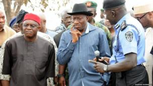 President Goodluck Jonathan of Nigeria visiting the scene of a bus station bombing near Abuja, 14 April 2014