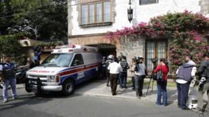 An ambulance is seen parked inside the garage of the home of Nobel prize-winning Colombian author Gabriel Garcia Marquez in Mexico City