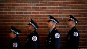 Chicago Police officers line up
