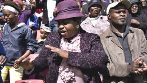 Dancing Pentecostal worshippers, Johannesburg, South Africa - Friday 18 April 2014