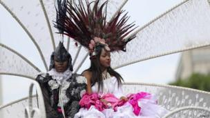 Dressed-up participants at the Lagos carnival, Nigeria - Monday 21 April 2014