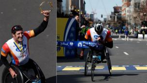 South African athlete Erst Van Dyk in his wheelchair at the Boston Marathon - Monday 21 April 2014