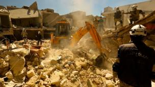 Excavation at site of blast