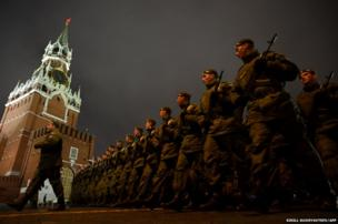 Russian soldiers march during a rehearsal of the Victory Day Parade in Moscow