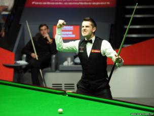 Mark Selby celebrates after winning the final of the World Snooker Championships at The Crucible, Sheffield
