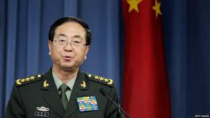 People's Liberation Army of China Chief of the General Staff Gen. Fang Fenghui speaks at a joint press conference with Chairman of the Joint Chiefs of Staff Army Gen. Martin Dempsey following a bilateral meeting at the Pentagon on 15 May, 2014 in Arlington, Virginia