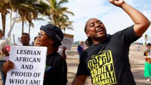 Gay rights activists in Durban, South Africa - Saturday 17 May 2014