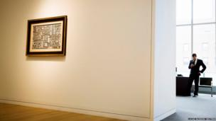 The painting Grafismo Infinito by artist Joaquin Torres-Garcia is seen at Sotheby's in New York