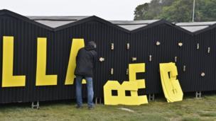 "Sign spelling out ""Llareggub"" at Laugharne, Carmarthenshire"