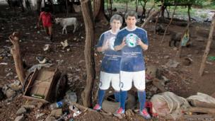 Cardboard cut outs of Argentinean footballer Lionel Messi are seen at a recycling centre in Managua
