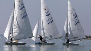 Competitors of Star Class Sailing European Championships start at Balaton Lake near Balatonfoldvar town, Hungary. 9 June 2014