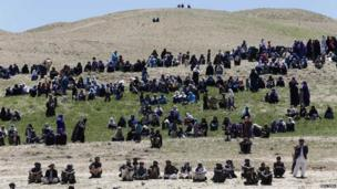 Supporters of Afghan presidential candidate Abdullah Abdullah attend second round presidential candidate election campaign in Ghor province