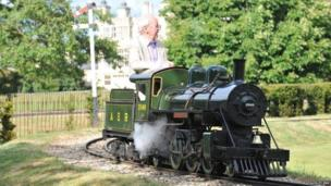 Lord Braybrooke on a miniature train