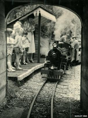 Steam train going into tunnel