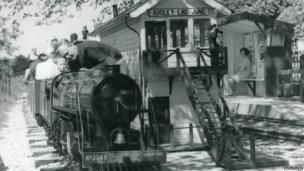 Train and railway station