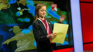 Olive from Malbank School and Sixth Form College reading the local TV weather bulletin.