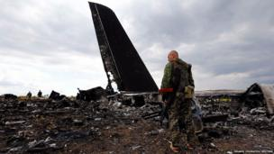 Site of the crash of the Il-76 Ukrainian army transport plane in Luhansk