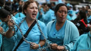 Nurses protest against low wages in Lima, Peru