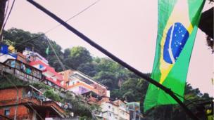 Brazil flag in favela