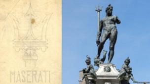Original Maserati logo design and statue atop the Fountain of Neptune in Bologna