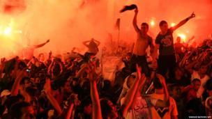 Algerian fans celebrate in Algiers