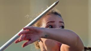 Leigh Petranoff throws a javelin