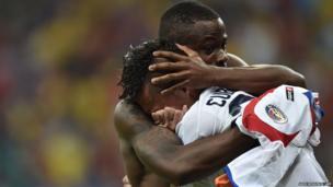 Costa Rica's defender Waylon Francis (left) and midfielder Jose Miguel Cubero celebrate