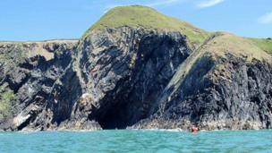 Dramatic folded strata in cliffs near Porth Ceibwr